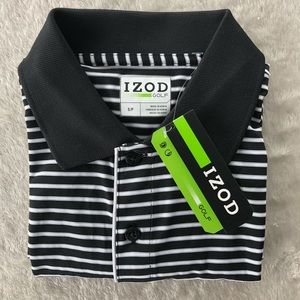 NWT IZOD Striped White and Black Golf Polo Shirt
